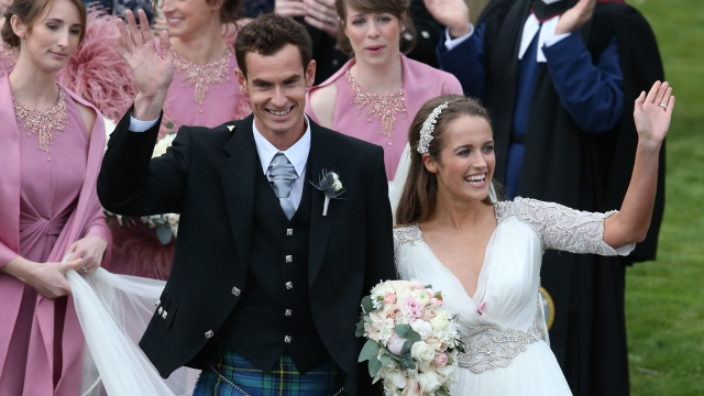 Andy Murray and Kim Sears after their wedding at Dunblane Cathedral.
