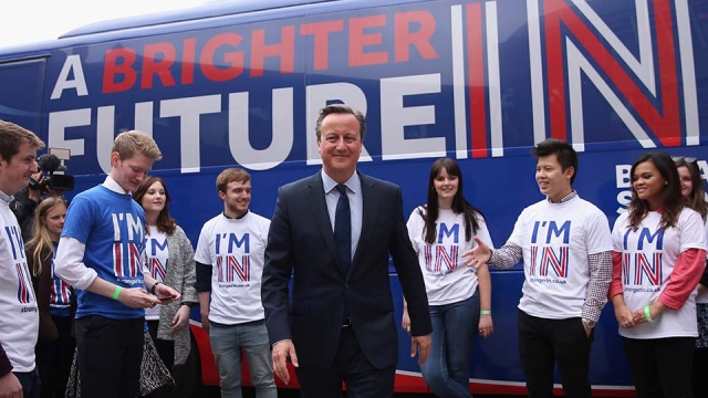 David Cameron joins students at the launch of the 'Brighter Future In' campaign bus at Exeter University on 7 April in Exeter (Photo: Dan Kitwood/Getty Images)