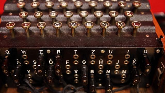 A working Enigma cipher machine.