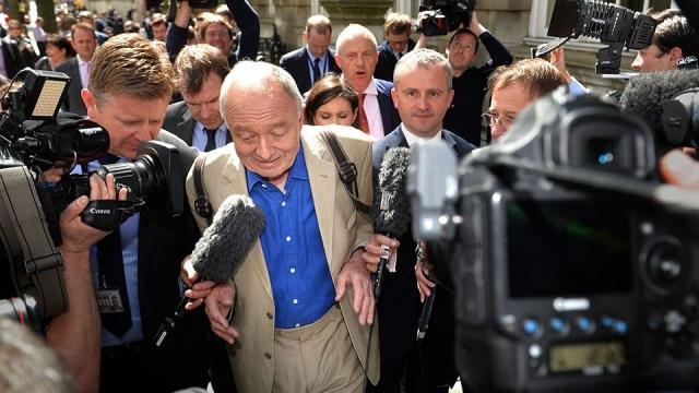 Former mayor of London Ken Livingstone is surrounded media outside Millbank in Westminster