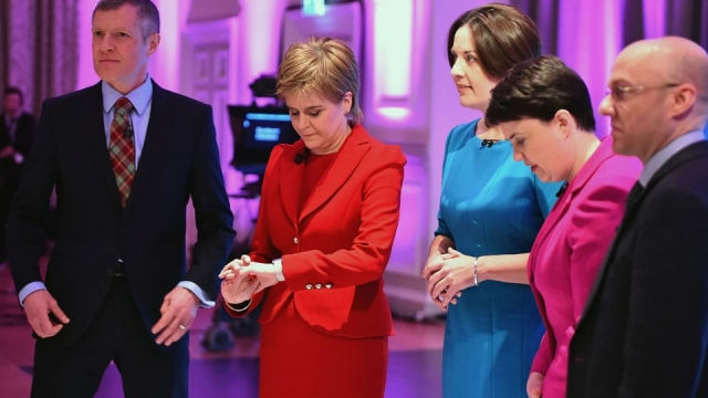 The leaders of the main Scottish political parties before a TV debate