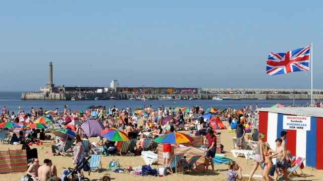 People enjoying the beach in Margate in the May sunshine (Gareth Fuller/PA Wire)