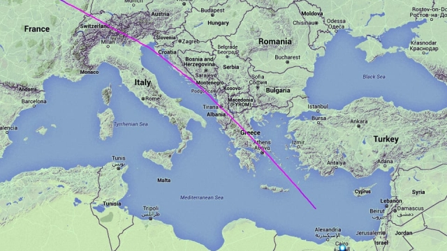 The track displayed on Flightradar24 showing the EgyptAir aircraft travelling from Paris to Cairo with 66 people on board which has disappeared from radar 10 miles into Egyptian airspace.