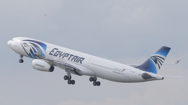 An EgyptAir Airbus takes off for Cairo from Charles de Gaulle Airport