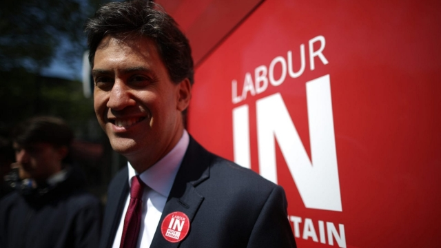 Former Labour leader Ed Miliband smiles as he campaigns for remain votes while touring with the 'Labour In Battle Bus' (Photo: Getty Images)