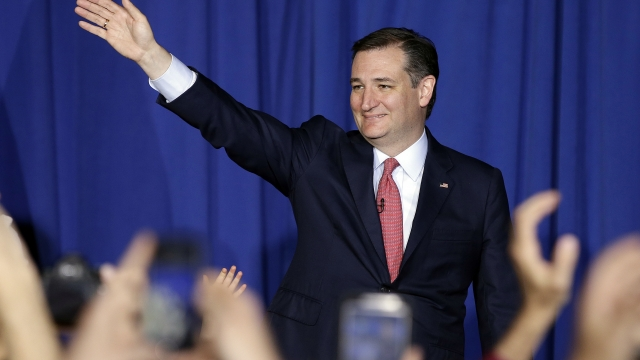 Ted Cruz waves to supporters