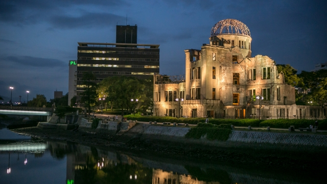 The A-bomb dome is illuminated at dusk in Hiroshima.