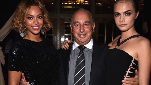 Sir Philip Green with Beyonce and Cara Delevingne at the Topshop/Topman flagship opening in New York