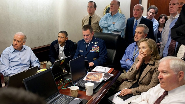 President Barack Obama watching the operation from the Situation Room