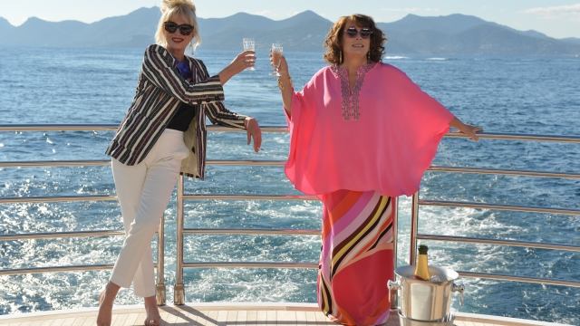 In the new 'Ab Fab' film, Patsy and Edina accidentally kill Kate Moss and go on the run to the French Riviera