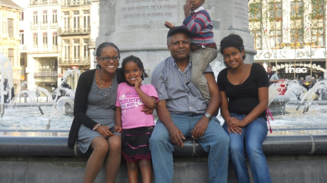 Andy Tsege, pictured here with his family, has been detained in Ethiopia for almost three years. His partner, Yemi Hailemariam (left), is now standing against Prime Minister Theresa May in next month's election. (Photo: Reprieve)