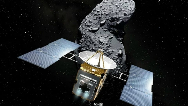"An artist's impression of Japan's space probe ""Hayabusa"" and an asteroid named Itokawa"