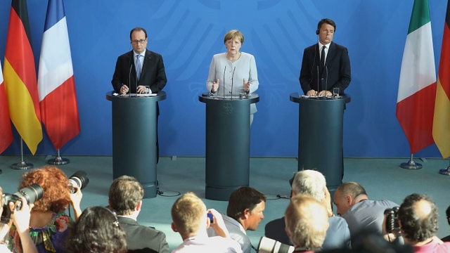 Angela Merkel of Germany, Francois Hollande of France and Matteo Renzi of Italy (Photo: Getty)