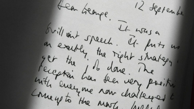Detail of a declassified handwritten letter sent by Tony Blair to George W Bush released as part of the Iraq Inquiry