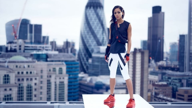 Katarina Johnson-Thompson embodies the computer game character 'Faith' from Mirror's Edge Catalyst