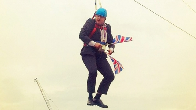 While London Mayor Johnson found himself stranded as he attempted to slide along a zipwire for a publicity stunt during the London 2012 Olympics. The pictures went around the world. Photo: London Tonight