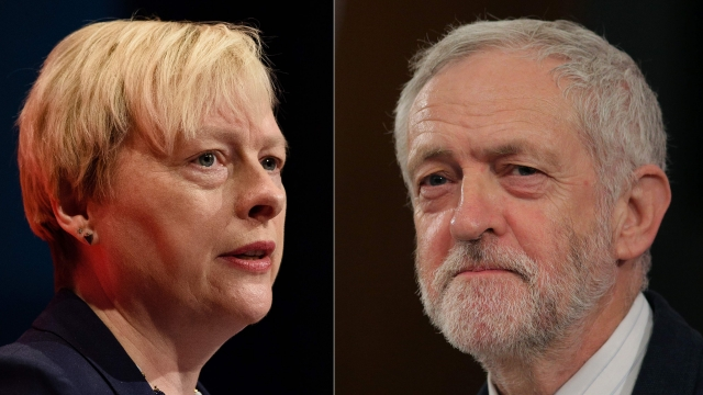Labour Party MP Angela Eagle and leader Jeremy Corbyn