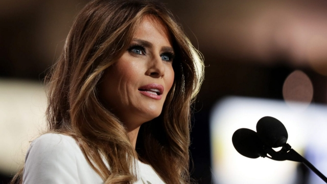Melania Trump delivers her controversial speech at the RNC in Cleveland, Oho (Photo: Getty)