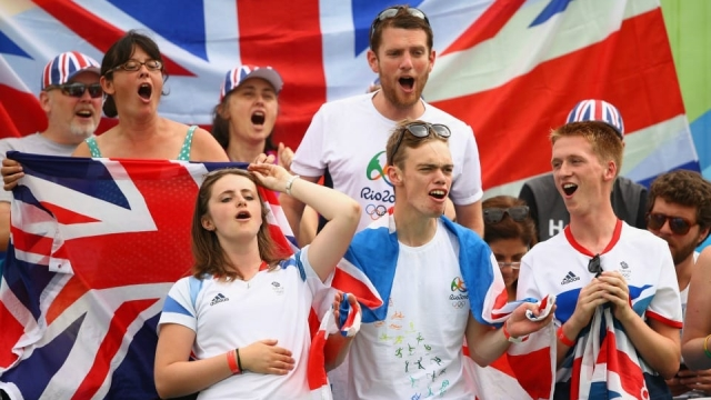 Team GB fans cheering on Andy Murray at the Olympic Tennis Centre