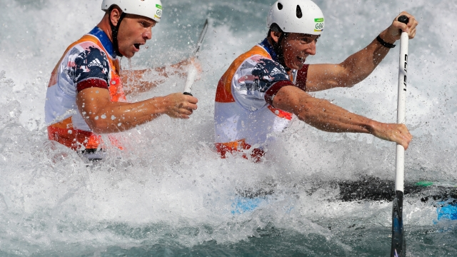 David Florence and Richard Hounslow compete during the Men's Canoe Double (C2) Semi-final