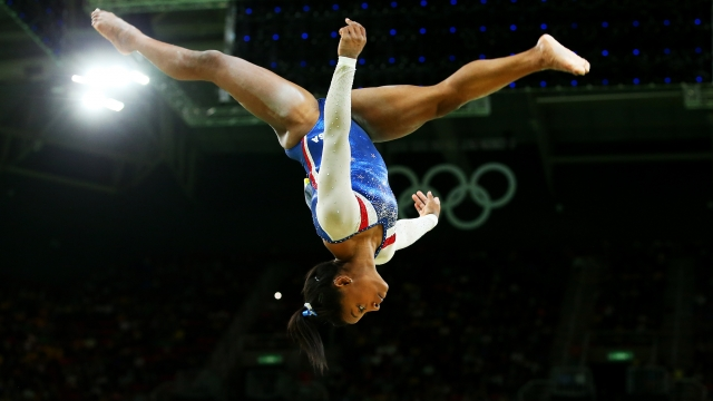 Simone Biles competes on the balance beam during the Women's Individual All Around Final