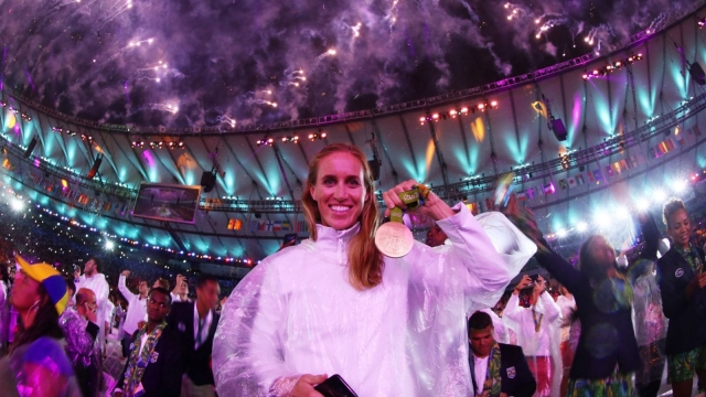Gold medalist Helen Glover celebrates during the Rio 2016 Closing Ceremony