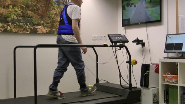 During the six months after training, the rate of falls decreased by 42 per cent in the group that combined the treadmill with technology, as opposed to the treadmill alone.
