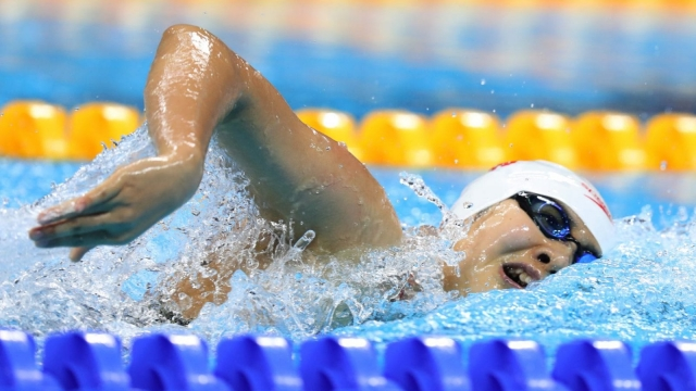 Yanhan Ai of China swims the 4x200m relay (Photo: Getty)