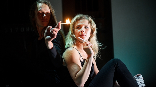 Maria Alyokhina (right) in Belarus Free Theatre's 'Burning Doors'. Photo: Alex Brenner