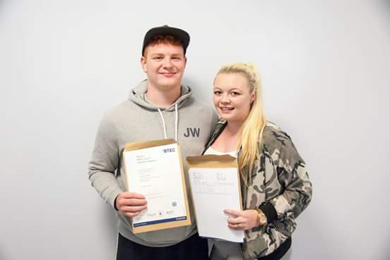 Cameron, 18, and his girlfriend Leigh, also 18, who also received her A-level results yesterday and who is now hoping to join the police. Both are pupils at Kenton School in Newcastle (Photo: Kenton School)
