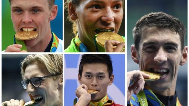 (Clockwise from top left) Britain's Joe Clarke, x, America's Michael Phelps, China's Sun Yang and Australia's Mack Horton (Photo: Getty/PA)