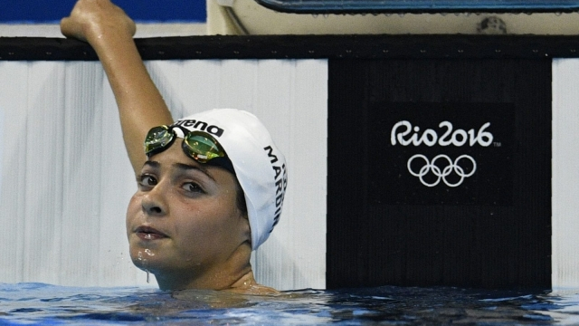 Yusra Mardini swims the 100m butterfly heat for the Refugee Olympic Team (Photo: Getty)