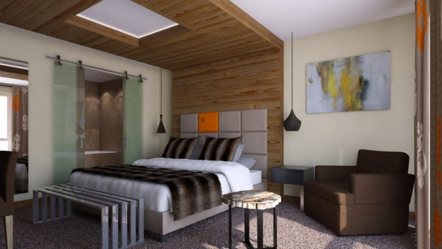 A bedroom at new hotel, RockyPop in Chamonix