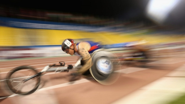Veteran wheelchair athlete David Weir, seen here competing in the IPC World Championships last year, is one of Britain's main medal hopes for the Rio Paralympics starting next week. (Photo: Getty Images)