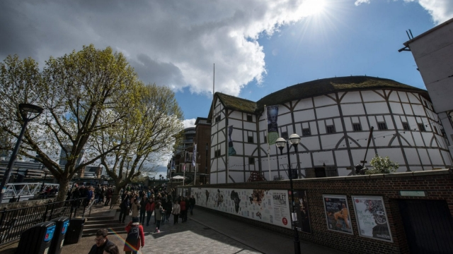 The recreated Globe Theatre in London is a replica of the Elizabethan playhouse which hosted William Shakespeare. The original structure was built from timbers used in an earlier theatre in east London whose archaeological remains are now to be given protected status. (Photo by Chris Ratcliffe/Getty Images)