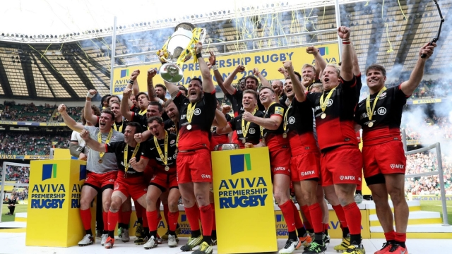 Saracens lift the trophy after winning the 2016 Aviva Premiership final