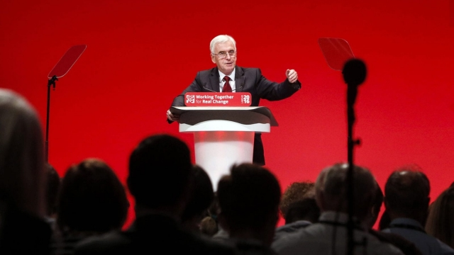Shadow Chancellor John McDonnell speaks during the second day of the Labour Party conference in Liverpool