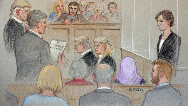 A court artist drawing illustrating defendant Helen Titchener (played by Louiza Patikas), listening to the trial verdict on the jurors paper
