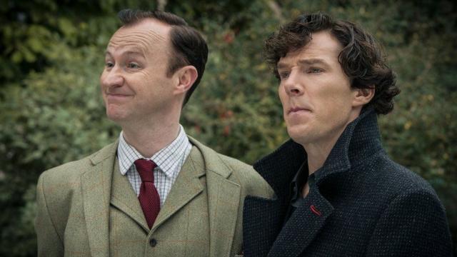 Mark Gatiss and Benedict Cumberbatch as Mycroft and Sherlock Holmes
