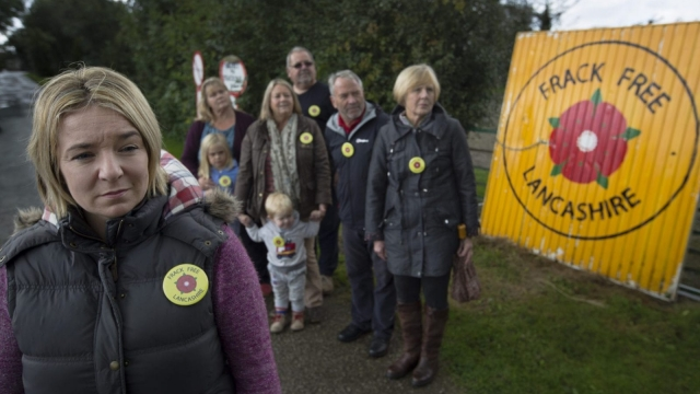 Residents gather in the village of Wharles, in Lancashire, close to Roseacre Wood, where energy firm Cuadrilla wants to frack for shale gas. (Photo: Colin Mcpherson)