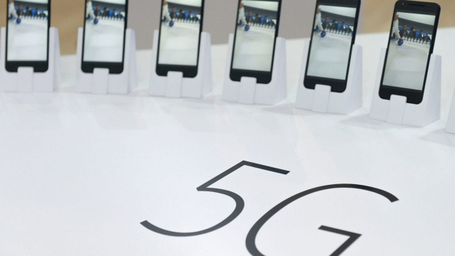 Mobile phones with 5G are displayed at the Mobile World Congress in Barcelona on February 22, 2016. The world's biggest mobile fair, is held from February 22 to February 25. / AFP / JOSEP LAGO (Photo credit should read JOSEP LAGO/AFP/Getty Images)