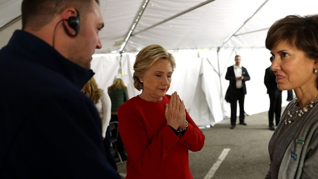 Hillary Clinton waits backstage before addressing a rally in Pittbsurgh, Pennsylvania (Photo: Getty)