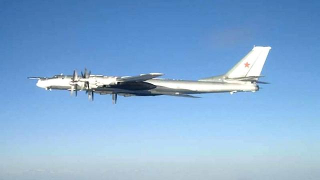 A Russian Tu-95 Bearlong-range bomber. (Photo by U.S. Navy via Getty Images)