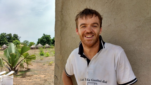 Angus McBride at work in South Sudan for Oxfam (Photo: Oxfam)