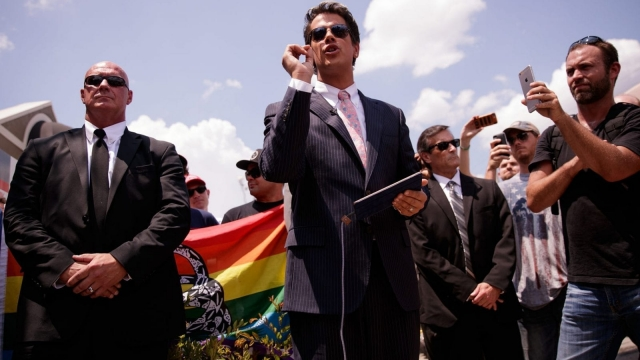Milo Yiannopoulos, a conservative personality, holds a press conference close to the Pulse nightclub in Orlando, Florida, after the attack there earlier this year (Photo by Drew Angerer/Getty Images)