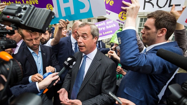 Nigel Farage faces the media during the referendum campaign in June (Photo: Getty)