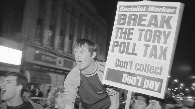 Protesters at a demonstration against the poll tax in London in March 1990. (Photo: Getty Images)