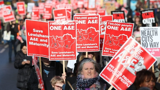Thousands of people from around the country took part in a demonstration and rally in Lewisham on 26 January 2013 in protest against Government proposals to close vital services at the hospital.