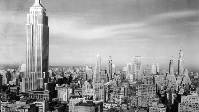 View of the Manhattan skyline with the Empire State Building and Chrysler Building, New York City, 1940s. Photo: Hulton Archive/Getty Images