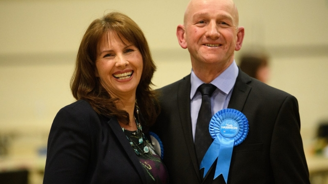 Article thumbnail: Conservative Party candidate Trudy Harrison celebrates with her husband after winning the Copeland by-election (Photo: Getty)